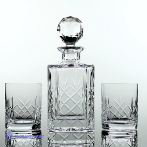 3 piece lead crystal whisky set decanter and 2 tumblers in a satin lined box