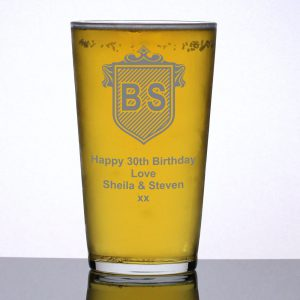 Engraved Beer Glass Initials Crest