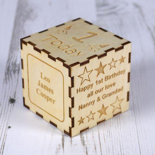 1st Birthday Wooden Keepsake Block