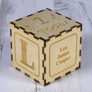 1st Birthday Wooden Keepsake Block