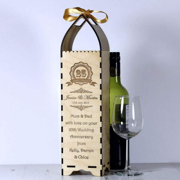 Wedding Gift Wine Box Uk : Anniversary Bottle Gift Box - Engrave a gift