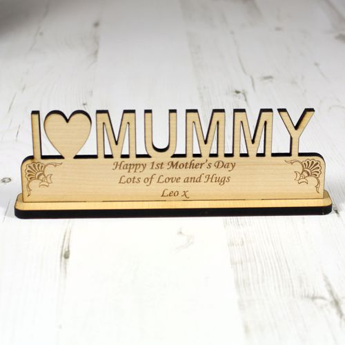Personalised I Love Mummy Wood Plaque Engrave A Gift