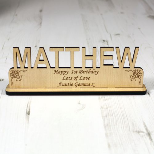 Personalised Wood Name Plaque Engrave A Gift