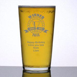 Personalised Pint Glass Winner Best Dad