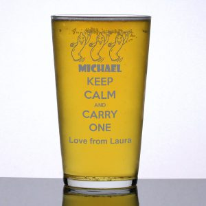 Personalised Pint Glass Keep Calm and Carry One