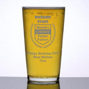 Personalised Pint Glass Greatest Farter