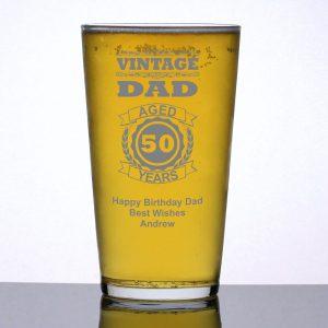 Personalised Pint Glass Vintage Dad