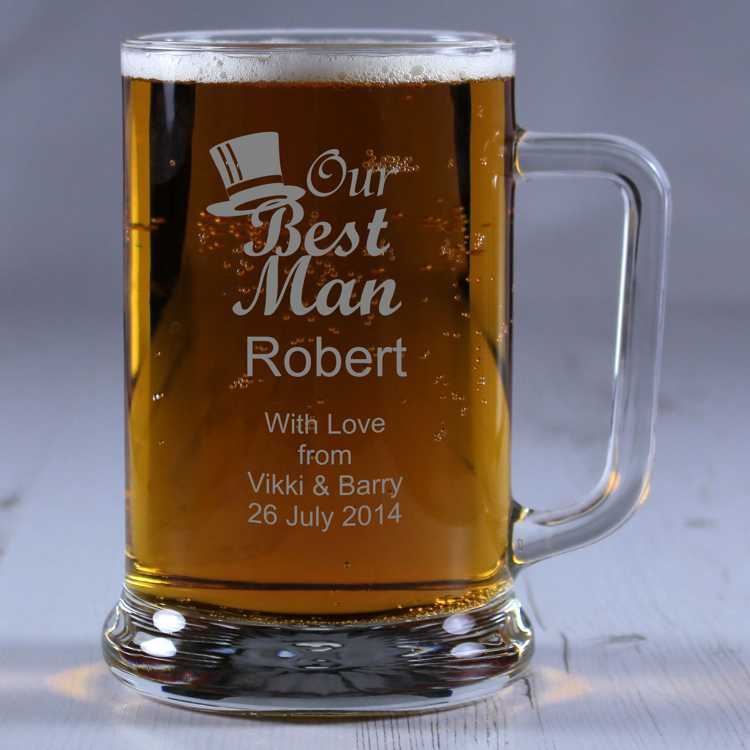 Best Man Personalised Glass Tankard Engrave A Gift