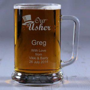 Personalised Glass Tankard Usher