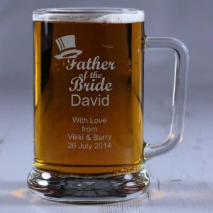 Personalised Glass Tankard Father of the Bride
