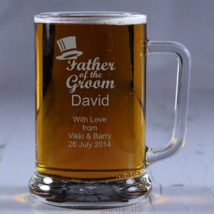 Personalised Glass Tankard Father of the Groom