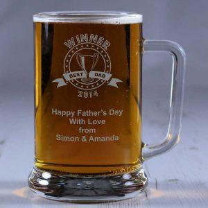 Personalised Glass Tankard Winner Best Dad