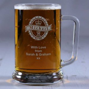Personalised Glass Tankard Birthday Badge