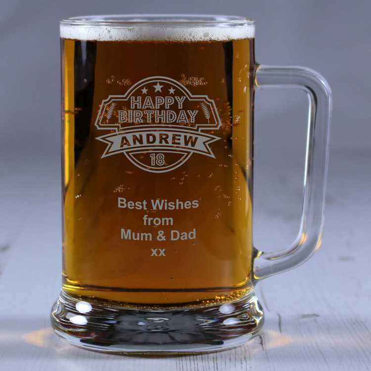 Personalised Glass Tankard 18th Birthday. '