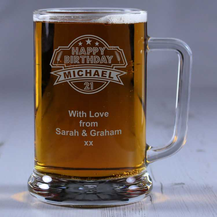 21st Birthday Personalised Glass Tankard Engrave A Gift
