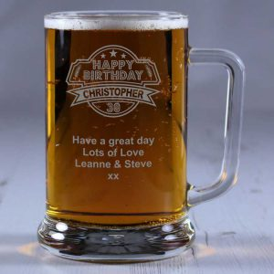 Personalised Glass Tankard 30th Birthday