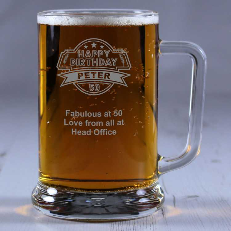 50th Birthday Liquor: '50th Birthday' Personalised Glass Tankard