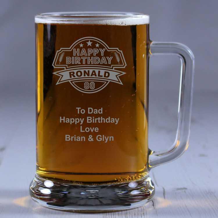 Personalised Glass Tankard 80th Birthday