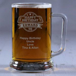 Personalised Glass Tankard 90th Birthday