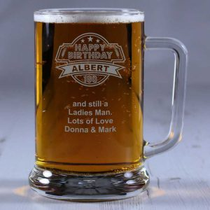 Personalised Glass Tankard 100th Birthday