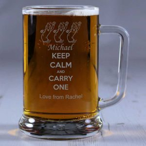 Personalised Glass Tankard Keep Calm and Carry One