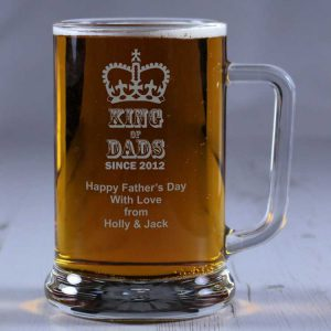 Personalised Glass Tankard King of Dads