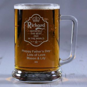 Personalised Glass Tankard Definitely the Best Dad