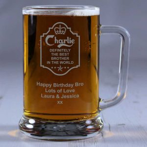 Personalised Glass Tankard Definitely the Best Brother