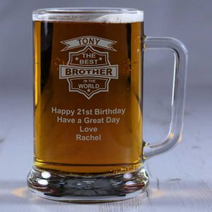 Personalised Glass Tankard Best Brother in the World