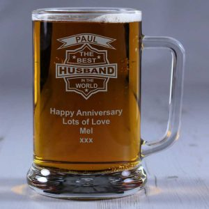 Personalised Glass Tankard Best Husband in the World