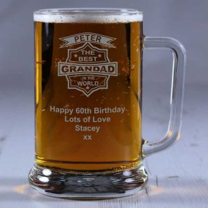 Personalised Glass Tankard Best Grandad in the World