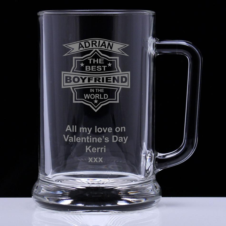 Best Boyfriend In The World Personalised Glass Tankard