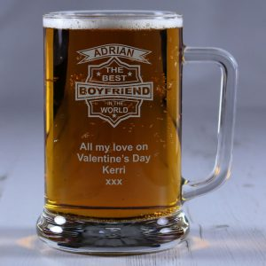 Personalised Glass Tankard Best Boyfriend in the World