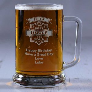 Personalised Glass Tankard Best Uncle in the World