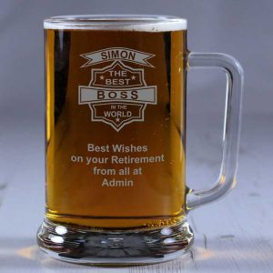 Personalised Glass Tankard Best Boss in the World