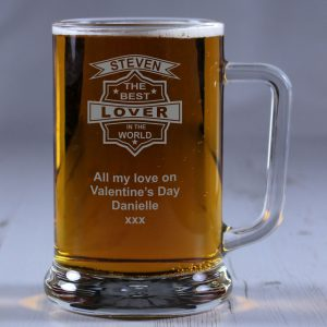 Personalised Glass Tankard Best Lover in the World