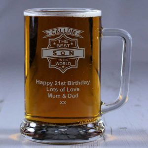 Personalised Glass Tankard Best Son in the World