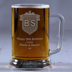 Personalised Glass Tankard Initials Crest