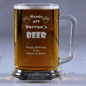 Personalised Glass Tankard Hands Off My Beer