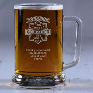 Personalised Glass Tankard Best Godfather in the World