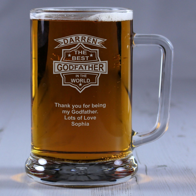 Best Godfather In The World Personalised Glass Tankard