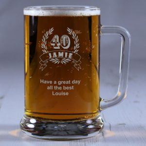Personalised Glass Tankard Birthday Laurel