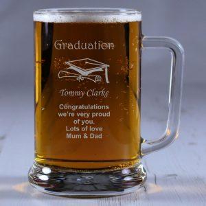 Personalised Glass Tankard Graduation