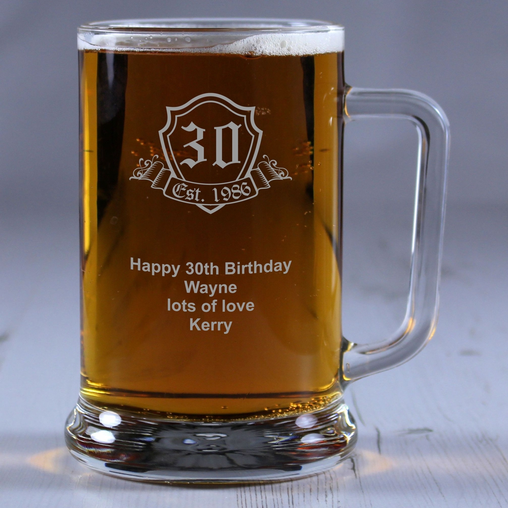 Birthday Crest Personalised Glass Tankard Engrave A Gift