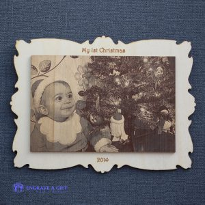 Laser engraved photo on wood