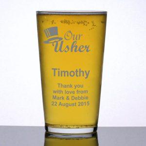 Personalised Pint Glass Usher