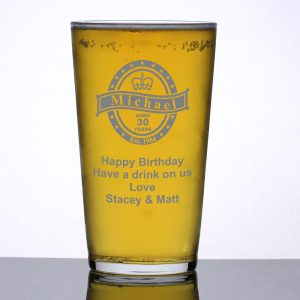 Personalised Pint Glass Birthday Badge