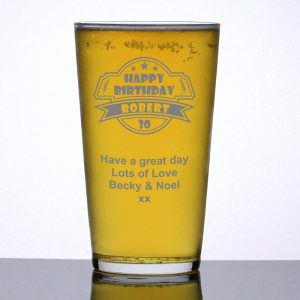Personalised Pint Glass 30th Birthday