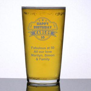 Personalised Pint Glass 50th Birthday