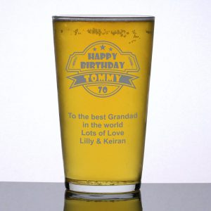 Personalised Pint Glass 70th Birthday